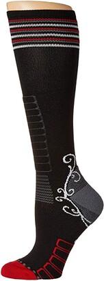 Eurosock Ski Light Silver (Black/Red) Women's Crew Cut Socks Shoes