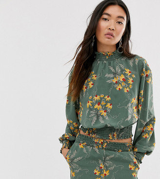 Monki floral print cropped high neck top in green
