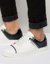 Versace Jeans Trainers In White With Zip Detail