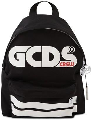 GCDS Logo Print Nylon Canvas Backpack