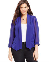 City Chic Plus Size Chiffon-Sleeve Blazer