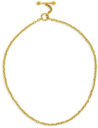 Elizabeth Locke Gold Hammered 19K Yellow Gold Fine-Link Chain Toggle Necklace
