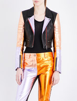 Haider Ackermann Metallic-panel leather jacket