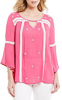 Intro 3/4 Bell Sleeve Rayon Gauze Embroidered Detail Peasant Top