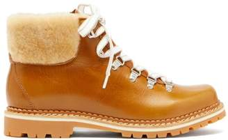Montelliana Marlena Shearling And Leather Hiking Boots - Womens - Tan White