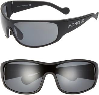 Moncler 77mm Polarized Wrap Shield Sunglasses