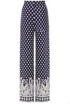 Quiz Navy And White Tile Print Palazzo Trousers