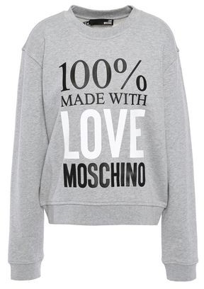 Love Moschino Appliqued Printed French Cotton-terry Sweatshirt