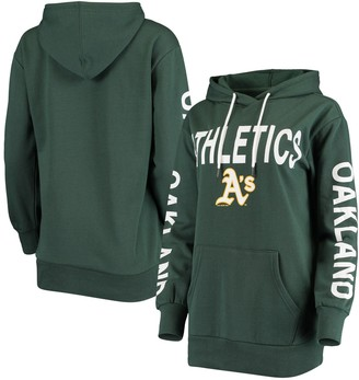 G Iii Women's G-III 4Her by Carl Banks Green Oakland Athletics Extra Inning Colorblock Pullover Hoodie