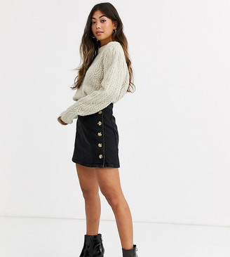 Asos DESIGN Petite denim wrap skirt with side buttons in black