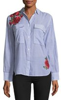 Rails Frances Striped Button-Front Shirt w/ Rose Embroidery