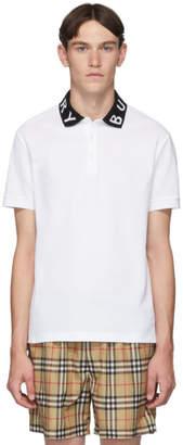 Burberry White Intarsia Logo Ryland Polo