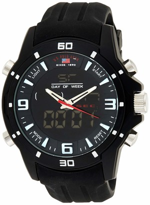 U.S. Polo Assn. Sport Men's US9490 Analog-Digital Watch With Black Silicone Band