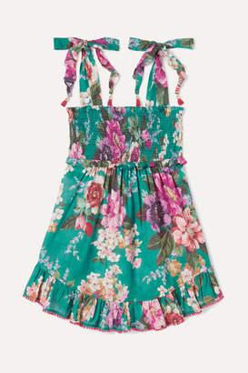 Zimmermann Kids - Allia Ruffled Shirred Floral-print Cotton-voile Dress - Green