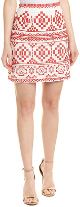 Champagne & Strawberry Embroidered Linen-Blend Mini Skirt