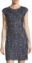 Aidan Mattox Cap-Sleeve Beaded Cocktail Dress