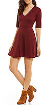 Copper Key V-Neck Fit-and-Flare Sweater Dress