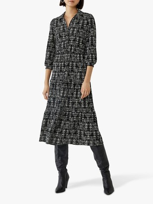 Warehouse Brushed Pattern Midi Shirt Dress, Black
