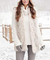 White & Tan Arctic Leopard Faux Fur Vest - Plus Too