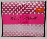 Betsey Johnson 4pc King Sheet Set White Polka Dots on Pink and Magenta