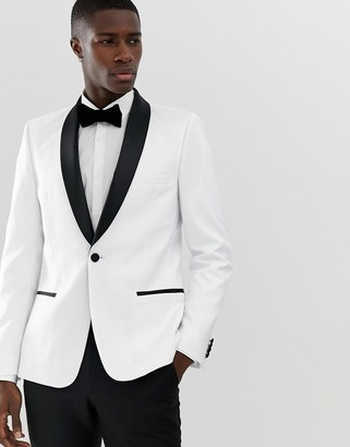 ASOS DESIGN skinny tuxedo blazer in white with black lapels