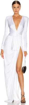 Redemption Draped Long Dress in White | FWRD