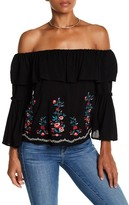 Flying Tomato Floral Embroidered Off-the-Shoulder Blouse