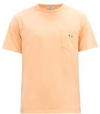 MAISON KITSUNÉ Tricolour Fox-patch Cotton-jersey T-shirt - Coral