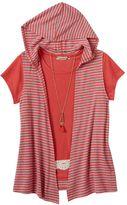 Speechless Girls 7-16 & Plus Size Crochet Tee, Hooded Vest & Necklace Set
