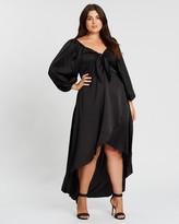 Missguided Curve Satin Milkmaid High-Low Maxi Dress