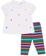 Florence Eiseman Lifesaver Scalloped-Collar Top w/ Striped Leggings, Size 2-4