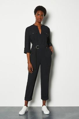 Karen Millen Black Belted Jumpsuit Long Sleeve