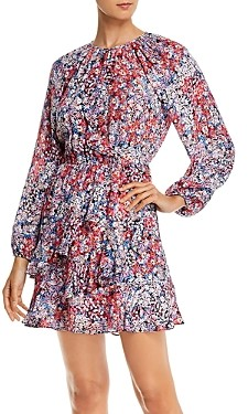 Parker Bertie Silk Floral Print Ruffled Mini Dress