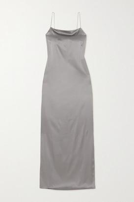 Helmut Lang Open-back Stretch-silk Satin Maxi Dress - Gray