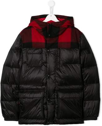 Woolrich Kids TEEN check pattern padded jacket