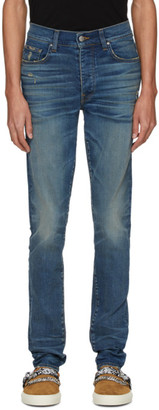 Amiri Indigo Distressed Stack Jeans