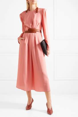 Stella McCartney Net Sustain Faux Leather-trimmed Crepe Dress - Pink