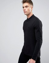 Asos Long Sleeve Polo In Pique With Logo