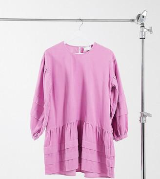 ASOS DESIGN Petite corduroy mini pleat detailed smock dress in light pink