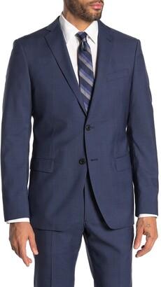 John Varvatos Bedford Blue Plaid Two Button Notch Lapel Wool Suit Separates Jacket