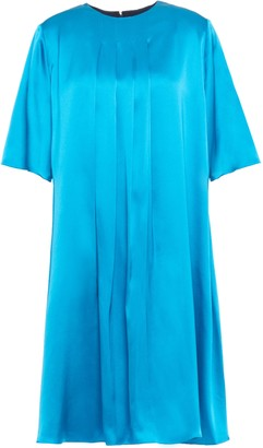 Roksanda Pleated Two-tone Silk-satin And Twill Mini Dress