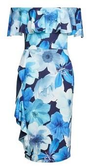 Dorothy Perkins Womens Luxe Blue Floral Print Frill Bardot Dress, Blue