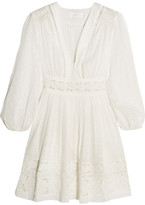Zimmermann Realm Lace-trimmed Fil Coupé Cotton-voile Mini Dress - White