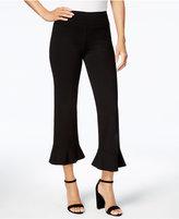 Kensie Cropped Flounce-Hem Trousers
