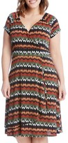 Karen Kane Plus Size Women's Print Cascade Drape Dress