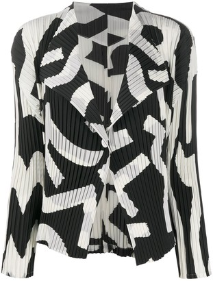 Issey Miyake Micro-Pleated Abstract Jacket