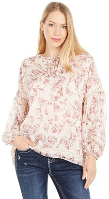Miss Me Lace-Up Neck Long Sleeve Blouse (Taupe/Beige) Women's Clothing