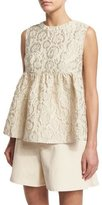 Co Sleeveless Matelasse Empire Top, Ivory