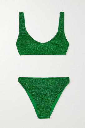 Oseree Lumiere Stretch-lurex Bikini - Green