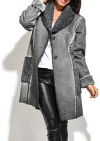 Everest Gray Faux Fur-Trim Coat